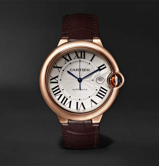 Cartier Ballon Bleu De Automatic 42mm 18-Karat Pink Gold And Alligator Watch