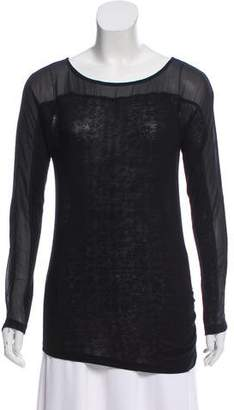 Graham & Spencer Sheer-Panel Long Sleeve Top