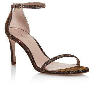 Stuart Weitzman Women's Nudisttraditional Sparkle Knit High-Heel Sandals