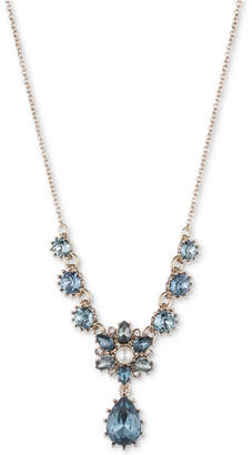 """Marchesa Gold-Tone Crystal, Stone & Imitation Pearl Lariat Necklace, 16"""" + 3"""" extender"""
