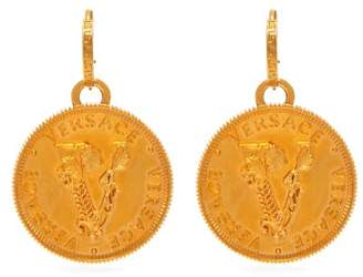 Versace Wheat Gold Tone Metal Drop Earrings - Womens - Gold