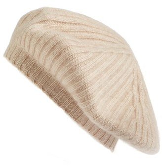 Women's Halogen Slouchy Ribbed Cashmere Beret - Beige $45 thestylecure.com
