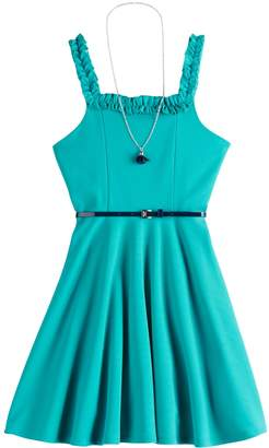 Knitworks Girls 7-16 Ruffle Skater Dress & Necklace Set