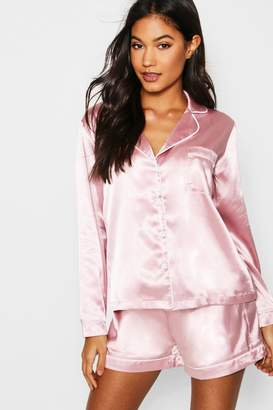 boohoo Long Sleeve PJ Short Set