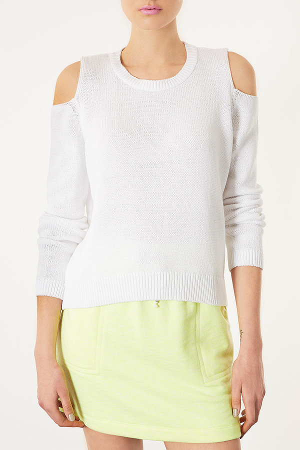 Topshop Knitted Cutout Shoulder Top