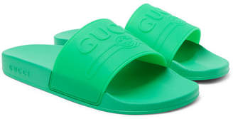 Gucci Logo-Embossed Rubber Slides - Men - Bright green