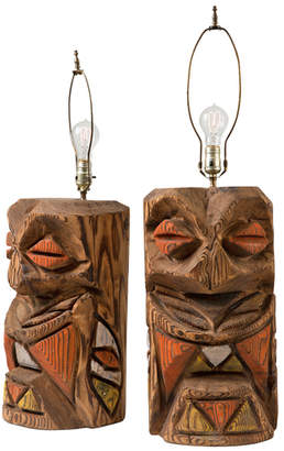 Rejuvenation Pair of Rustically Carved Northwest Totem Lamps