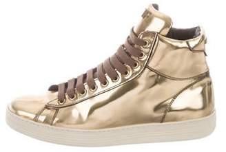 Tom Ford Metallic High-Top Sneakers
