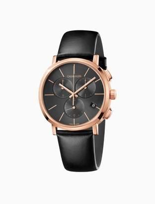 Calvin Klein posh leather rose gold chronograph watch