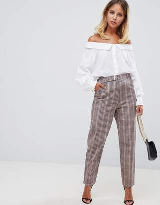 Missguided belted cigarette pants in brown check