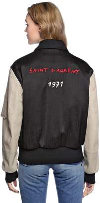Saint Laurent Oversize Embroidered Satin Bomber Jacket