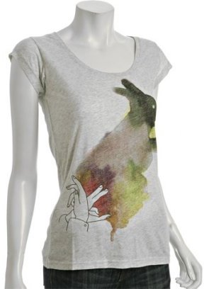Insight heather grey jersey 'Rabbit' scoop neck t-shirt