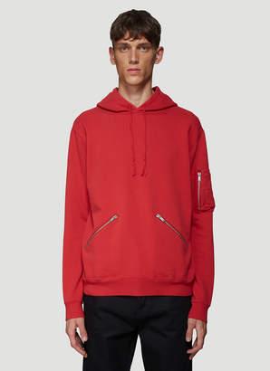 Saint Laurent Zip Pocket Hooded Sweatshirt in Red