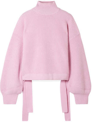 Paper London Candyfloss Oversized Tie-detailed Wool Turtleneck Sweater - Baby pink