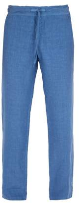 120% Lino Mid Rise Linen Trousers - Mens - Dark Blue