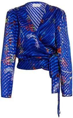 Tanya Taylor Erica Burnout Wrap-Style Blouse
