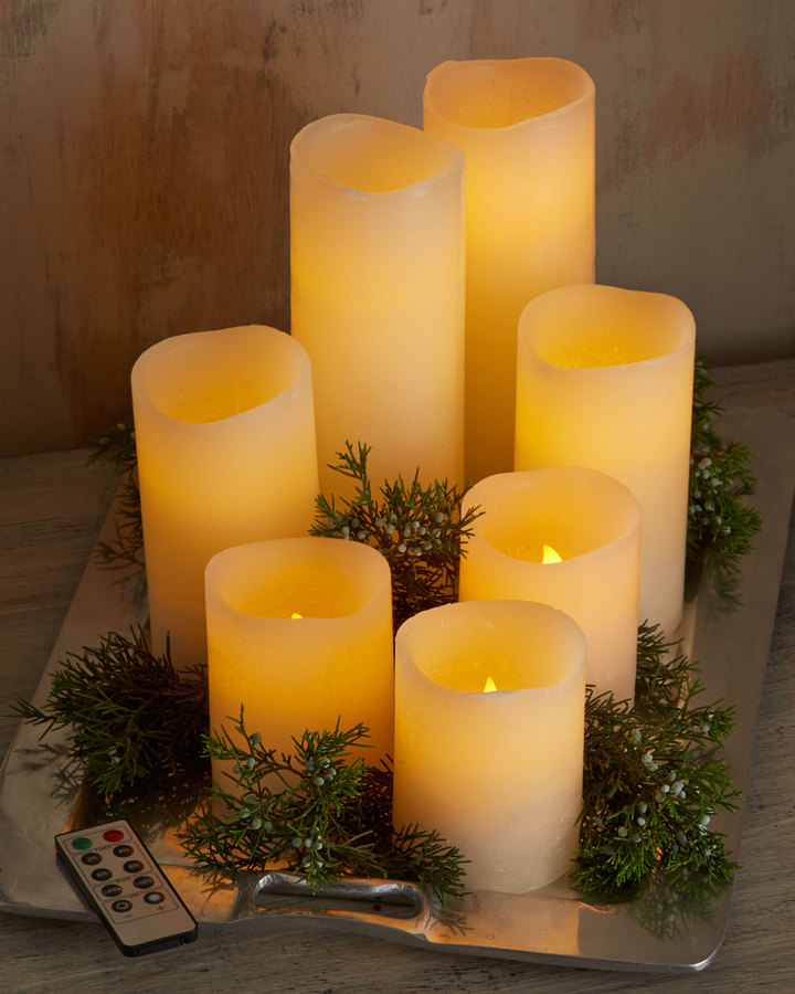Horchow Park Hill Collections Three LED Candles with Remotes