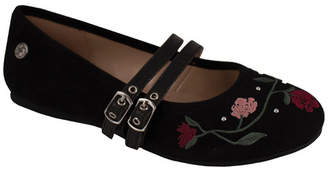 Trimfoot Black Microsuede Floral Embroidered Buckle Flat
