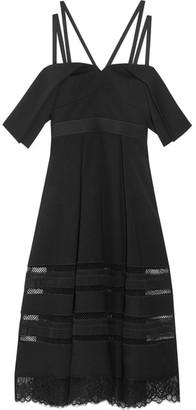 Self-Portrait - Cold-shoulder Lace-trimmed Crepe Midi Dress - Black $545 thestylecure.com