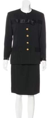 Chanel Vintage Satin-Trimmed Skirt Suit