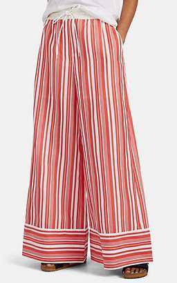 Sacai Women's Striped Cotton-Blend Pajama-Style Pants - Red