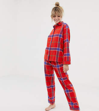 Monki xmas red check pyjama set