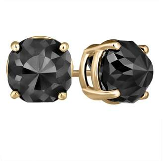 Black Diamond 14K Yellow Gold Luv Eclipse 2 Patented Cut Treated Earrings