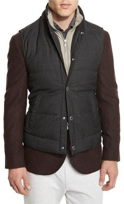 Brunello Cucinelli Rustic Quilted Wool Vest, Anthracite $2,545 thestylecure.com
