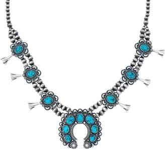 American West Spiderweb Turquoise Squash Blossom Necklace