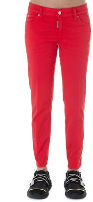 DSQUARED2 Red Cropped Jeans In Denim