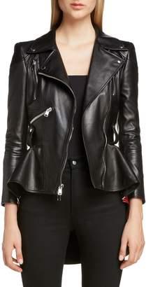 Alexander McQueen Paneled Peplum Hem Leather Biker Jacket