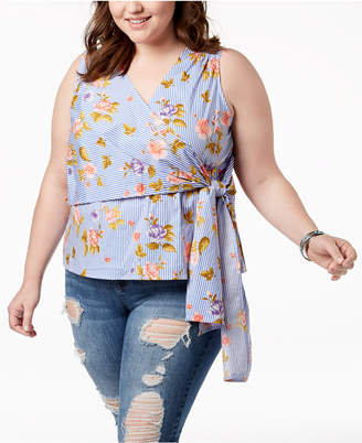 Say What Trendy Plus Size Sleeveless Faux-Wrap Top