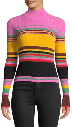 Diane von Furstenberg Dara Striped Metallic Turtleneck Sweater
