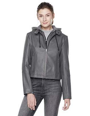The Casual Grey Women's Faux Leather Jacket with Hood