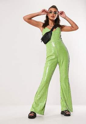 16642b39d9fb Missguided Lime Sequin Flared Leg Jumpsuit