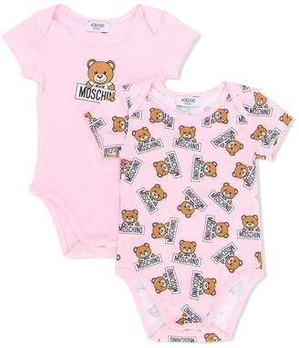 Moschino Kids set of two teddy bear print bodysuits