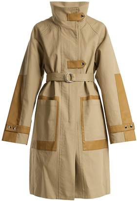 Yves Salomon Contrast-panel tie-waist cotton-blend coat