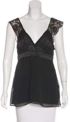 BCBGMAXAZRIA Lace-Accented Sleeveless Top