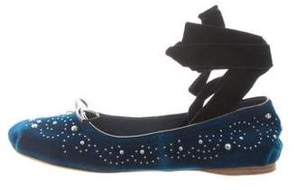 Miu Miu Studded Velvet Flats