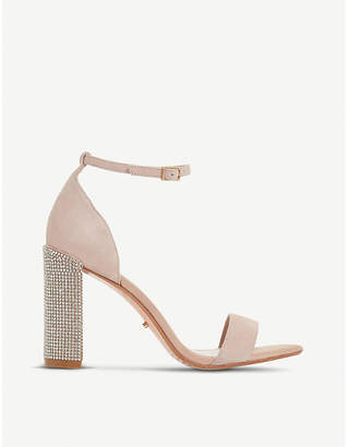 Dune Mezmerise diamanté suede heeled sandals