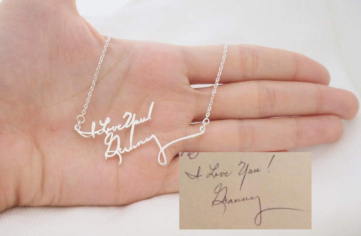 Etsy Signature Necklace/Multiple Lines Signature Necklace in Silver/Handwriting necklace/Bridesmaid Gift/