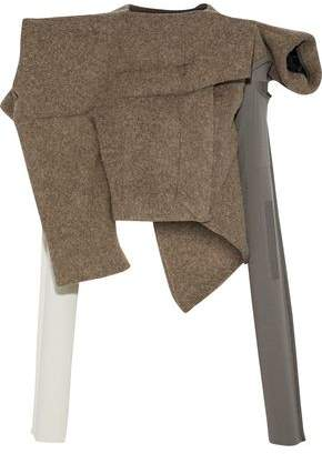 Rick Owens Winter Raven Cropped Knit-Paneled Wool Jacket