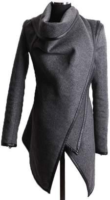 Caflin Women's Plus Size Wool-Blend Irregular Trench Coat With Zip XL