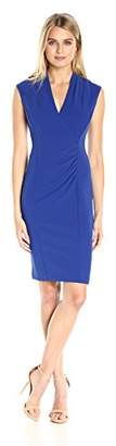 Calvin Klein Women's Cap Sleeve V Neck Ruched Sheath Dress
