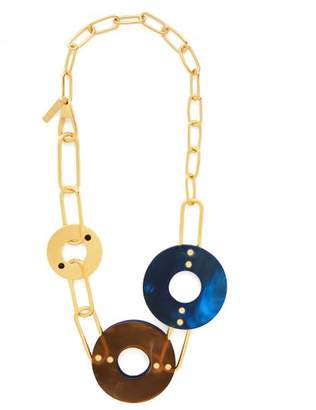 Marni Chain And Disc Necklace - Womens - Blue