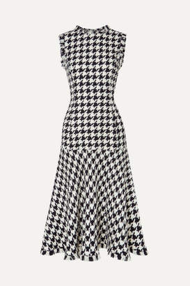 Oscar de la Renta Fringed Houndstooth Wool-blend Tweed Dress - Black