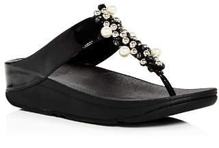 FitFlop Women's Deco Embellished Platform Thong Sandals
