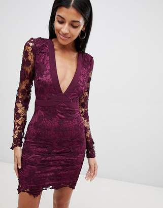 boohoo Lace Open Back Tie Detail Mini Dress