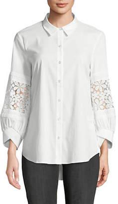 Isaac Mizrahi IMNYC Puffed-Sleeve Lace Poplin Shirt