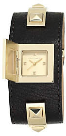 Nobrand NO BRAND Vince Camuto Women's Goldtone Studded Black Leather Cuff Watch